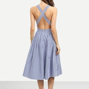 Dresses & Skirts - Striped Criss Cross Back Swing Dress